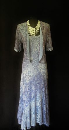 ANN BALON (Italian Inspired Designer) Lilac, Lace Dress & Jacket, size UK12/14