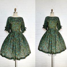 1950's dress / jade swirl 50's cotton dress by bitterrootvintage, $155.00