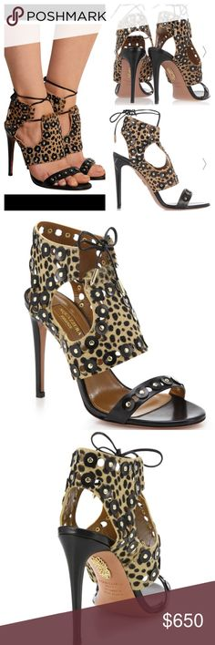 NWT Aquazzura Rebel Studs Cheetah Calf Hair Sandal Aquazzura's sandals are elegant with a rebellious edge - they're punctuated with cutouts and gold studs. This Italian-made pair is crafted from black leather and leopard-print calf hair. The lace-up back is a label signature.  - Heel measures approximately 105mm/ 4 inches  - Leopard-print calf hair, black leather  - Ties at ankle - Designer color: Cheetah Aquazzura Shoes Heels