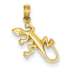14k Polished Gecko Pendant