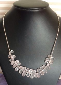 Beautiful Rose Quartz Faceted Pear Necklace with Silver Clasp by RosaJaanLoves on Etsy https://www.etsy.com/listing/247821257/beautiful-rose-quartz-faceted-pear
