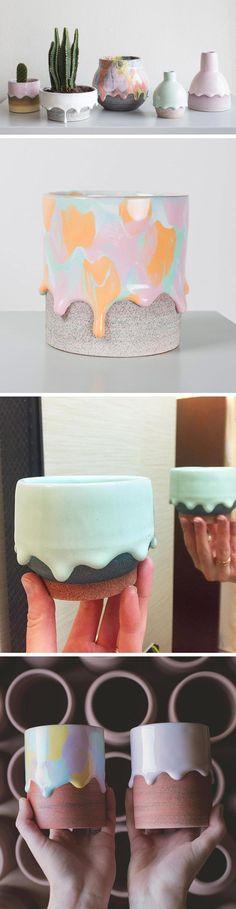 Rainbow Drip Vessels by Brian Giniewski Ceramics (cupcake ideas awesome) Ceramics Projects, Clay Projects, Clay Crafts, Diy And Crafts, Arts And Crafts, Ceramics Ideas, Ceramic Clay, Ceramic Pottery, Porcelain Ceramic