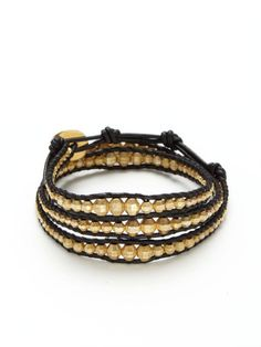 Gold Nugget and Leather Wrap Bracelet Chan Luu