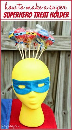 How to turn a foam head into an super superhero cake pop holder from /playpartypin/ Superhero Cake Pops, Superhero Treats, Superhero Party, Cake Pop Holder, Treat Holder, Hero Crafts, Fun Crafts, Craft Projects For Kids, Diy Projects