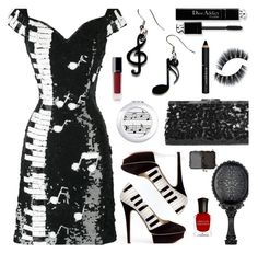 """""""Vintage Piano Keys Sequins Dress"""" by deborah-calton ❤ liked on Polyvore featuring Tatty Devine, Charlotte Olympia, CO, Givenchy, Chanel, NARS Cosmetics, Deborah Lippmann and vintage"""