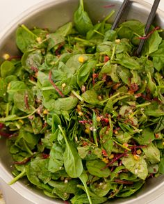 Grilled corn and beet salad with lots and lots of baby spinach! #spinach