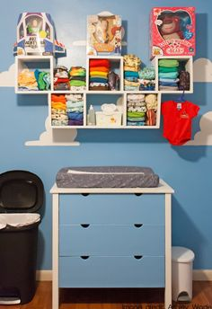 Toy story inspired nursery with custom shelving for cloth diapers. Pixar Nursery, Toy Story Nursery, Toy Story Bedroom, Toy Story Baby, Baby Nursery Diy, Baby Boy Rooms, Baby Boy Nurseries, Girls Bedroom, Cloth Diaper Organization
