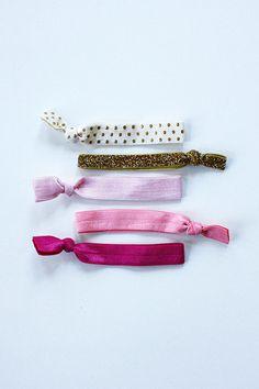 elastic hair ties -- pink shimmer palette / etsy