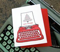 letterpress christmas typewriter cards by blackbirdletterpress, $22.00