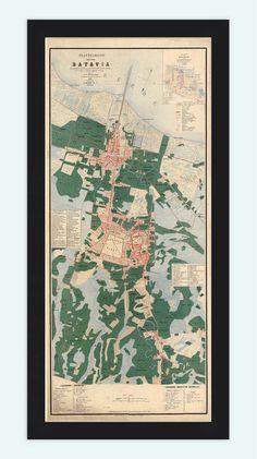Old Map of Jakarta Batavia Indonesia 1866