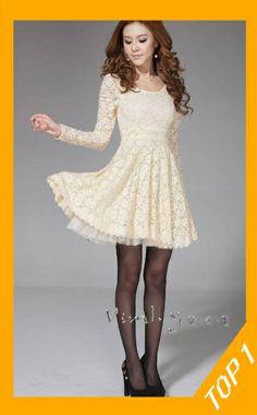 Women's long-sleeved base lace dress, full pleated skirt