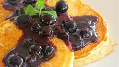 Recipes Good Food: Lemon Ricotta Pancakes with Blueberry Sauce