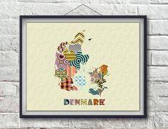 Denmark Map, Denmark Poster, Denmark Art Print, Copenhagen Art, Copenhagen Map, Map Poster Home Decor, Danish Print Gift AVAILABLE @ $15
