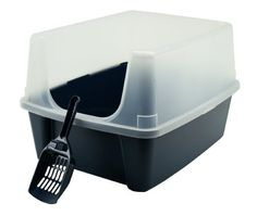 Iris CLH-12 Open-Top Litter Box with Shield and Scoop: http://www.amazon.com/Iris-CLH-12-Open-Top-Litter-Shield/dp/B002BDU8EW/?tag=httpbetteraff-20
