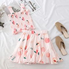Heliar 2019 Summer Woman Suit Fruit Printed Tops Pleated Croped Halter Top And Sweet High Waist Pleated Skirt Two-Piece Outfits Girly Outfits, Cute Casual Outfits, Pretty Outfits, Beautiful Outfits, Fashion Outfits, Harajuku Fashion, Kawaii Fashion, Aesthetic Fashion, Aesthetic Clothes