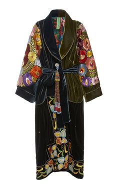 Exclusive Belted Silk-Embroidered Velvet Coat by Rianna + Nina Kimono Fashion, Fashion Outfits, Womens Fashion, Fashion Trends, Tribal Fashion, Fashion Tips, Vintage Outfits, Vintage Fashion, Vintage Clothing