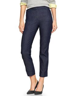 Slim cropped chambray pants Product Image