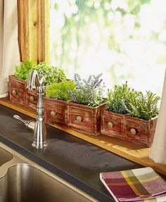 This Set of 3 Vintage Drawer Planters has the charming look of repurposed furniture. Each planter is intentionally distressed for even more rustic appeal. Liner