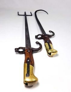ANTIQUE WWI TRENCH ART ORIG FRENCH BAYONETS FASHIONED INTO FIREPLACE ACCESSORIES (sold)