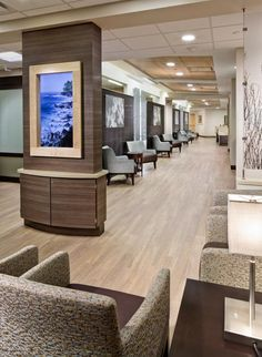 The patient lounge in the clinical suite includes a high-definition video system in lieu of televisions. This system features audio and video of nature scenes to enhance the sense of calm and provide sound-masking. Photo: Denmarsh Photography Inc.