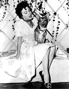 Ava Gardner with her corgi! ♡... re-pin by www.StoneArtUSA.com ~ affordable custom pet memorials for everyone.