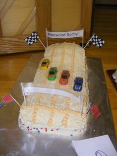 Boy Scout Pinewood Derby Cake    Great idea for Blue and Gold Cake Off!