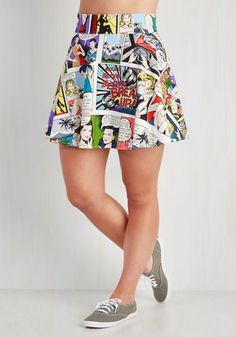 Playful Feeling Skirt in Comic Book. Lift your spirits while scoring major style points in this circle skirt! #white #modcloth
