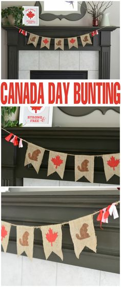 Canada Day Bunting with Free Printable Template - Frugal Mom Eh! Celebrate Canada Day this year with an easy to make DIY patriotic decor project: Canada Day Bunting Canada Day Crafts, Diy Canada Day Decor, Baby Showers, Canada Day Fireworks, Canada Day Party, Canada Holiday, Happy Canada Day, Patriotic Decorations, Upcycled Crafts