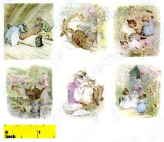 "DOLLSHOUSE Miniature Beatrix Potter Tom Kitten Print Set - CDHM   Set of six beautiful vintage prints based on the work of Beatrix Potter. Carefully reproduced & digitally enhanced by a ""Custom Dolls, Houses & Miniatures"" artisan. The prints are presented on high quality premium materials in a choice of either gloss or soft-gloss finish. Sizes range approximately 1 1/2  inch x 1 1/2 inch"