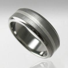Men's Titanium Swirl Wedding Band with Argentium Silver Inlay made by Spexton.com