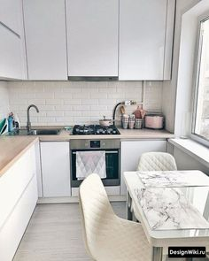 kitchen decoration The kitchen is about 6 in Khrushchev, from which they made a studio. Scroll left to zoom … – Bilitili Kitchen Room Design, Diy Kitchen Decor, Living Room Kitchen, Kitchen Furniture, Kitchen Interior, Apartment Kitchen, Home Kitchens, Living Room Designs, Kitchen Remodel