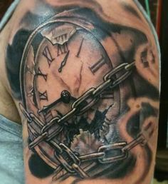 Broken Clock And Chain Tattoos On Shoulder