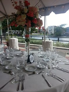 Outdoor wedding dinner and reception at the plaza adjacent to the Stranahan House Wedding Dinner, Big Day, Bridal Shower, Table Settings, Reception, Table Decorations, Weddings, House, Outdoor