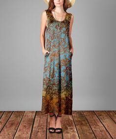 Look at this #zulilyfind! Blue & Rust Floral Maxi Dress - Plus Too #zulilyfinds