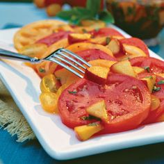 Fresh Peach-Basil Vinaigret @ Southern Living  Prep: 10 min. Serve over a colorful variety of tomatoes from the local farmers market.