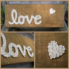 Burlap Love string art with Heart by JOCoriginalcreations on Etsy https://www.etsy.com/listing/187508049/burlap-love-string-art-with-heart