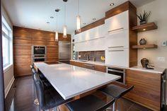 40 Stunning Modern Contemporary Kitchen Ideas - Popy Home Kitchen Dinning, New Kitchen, Kitchen Decor, Kitchen Ideas, Modern Kitchen Design, Interior Design Kitchen, Mid Century Modern Kitchen, Home Interior, Townhouse