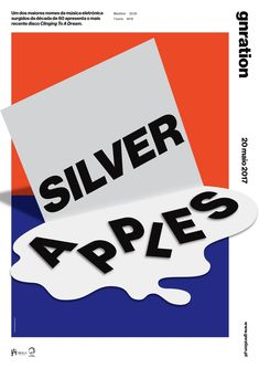 """silver apples"" by studio dobra / portugal, 2017 / digital print, 297 x 420 mm Graphic Design Studios, Graphic Design Projects, Graphic Design Posters, Graphic Design Inspiration, Poster Designs, Kids Graphic Design, Design Typography, Typographic Design, Paper Design"