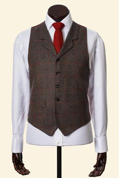 Brown Windowpane Cashmere Wool Borders Tweed Edward Waistcoat Walker Slater Tweed Specialists