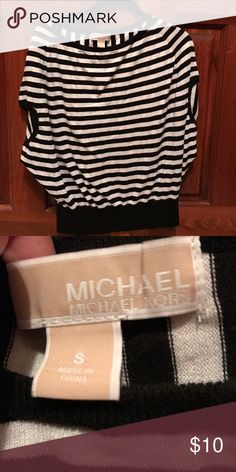 Michael Kors black and white Striped Top Size small, good condition Michael Kors Tops Tees - Short Sleeve