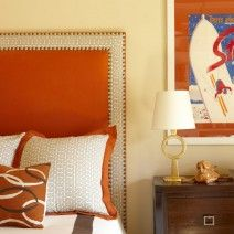 Color panel inset to pump up a neutral headboard.   Amanda Nisbet