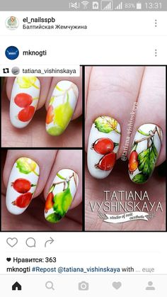 Nail Manicure, Diy Nails, Manicures, Fruit Nail Art, Flower Nail Art, Autumn Nails, Arte Floral, Nail Tutorials, Disney Drawings