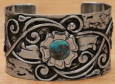 Montana Silversmiths® Silver with Turquoise Cabuchon Flower Blooming Cuff Bracelet