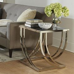 Tribecca Home Anson Steel Brushed Arch Curved Sculptural Modern End Table -- I want! Would look amazing in our bedroom Glass End Tables, Modern End Tables, Sofa End Tables, Modern Coffee Tables, Table Decor Living Room, Living Room Furniture, Living Rooms, Steel Coffee Table, Steel Table