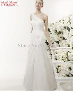 edf7637881c0 2015 Hot Sale White Wedding Dress Pleat Crystal Scalloped One Shoulder  Floor Length Mermaid Vestido De Festa Free Shipping AE87-in Wedding Dresses  from ...