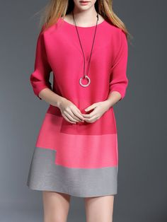 Red A-line Sleeve Ribbed Crew Neck Mini Dress Dress Outfits, Casual Dresses, Short Dresses, Dress Up, Fashion Dresses, Mini Dresses, Fashion Clothes, Pink Dress, Fashion Mode