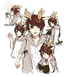 Anime guy with antlers