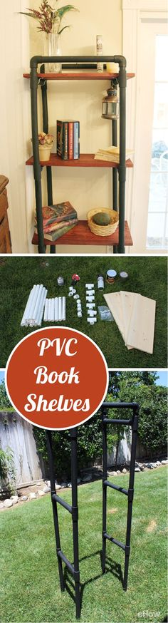Bookshelves can be very expensive, but all you really need are some pvc pipes, pine wood boards and a few power tools you may already own and an afternoon! Get this industrial chic look in any corner of your house with this step-by-step how-to: http://www.ehow.com/how_5005351_make-pvc-book-shelves.html?utm_source=pinterest.com&utm_medium=referral&utm_content=freestyle&utm_campaign=fanpage