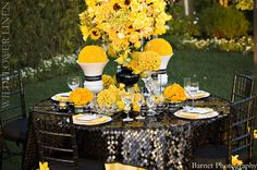 Black And yellow wedding table linens Wedding Table Linens, Wedding Reception Decorations, Table Decorations, Centerpieces, Orange Party, Dining Room Table Decor, Yellow Theme, 70th Birthday Parties, Wedding Grey