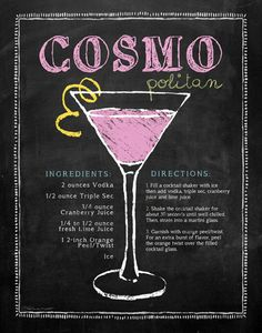 Cosmopolitan ~ 2 oz Vodka - 1/2 oz Triple Sec - 3/4 oz Cranberry Juice - 1/4 to 1/2 oz fresh Lime Juice - 2 inch Orange peel/Twist Fill a cocktail shaker with ice then add vodka, triple sec, cranberry juice and lime juice. Shake the shaker for about 30 seconds< strain into martini glass. Garnish with orange peel.